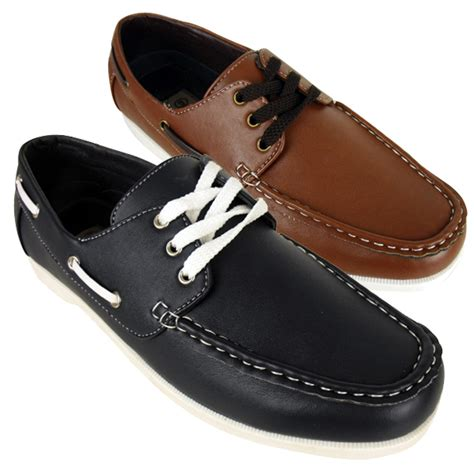 new mens smart faux leather boat shoe loafer deck shoes