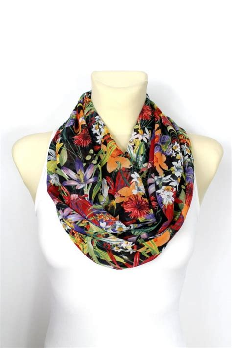 Handcrafted Scarves - infinity scarf floral infinity scarf printed scarf unique