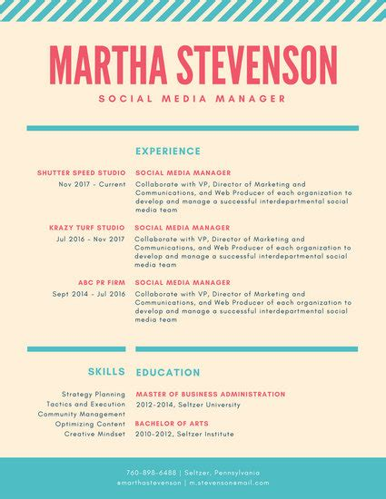 Colorful Resume Templates by Coral And Teal Striped Colorful Resume Templates By Canva