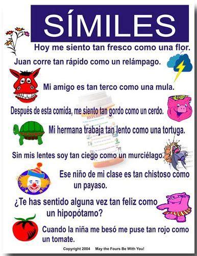 ejemplo de simil y metafora 8 best images about spanish lenguaje figurado on