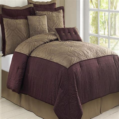 plum comforter tisdale plum taupe queen 8 piece comforter bed in a bag