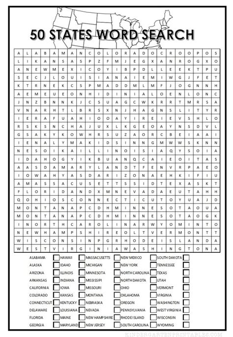 printable word search states 50 states word search