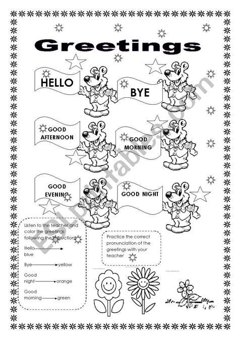 greetings worksheets for greetings esl worksheet by yorlejq