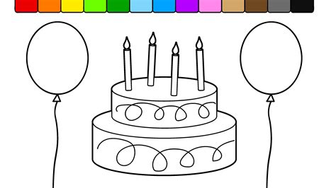 coloring pictures of birthday cakes and balloons learn colors for kids with this birthday cake balloon