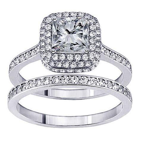 14k white gold 2ct tdw princess bridal ring set