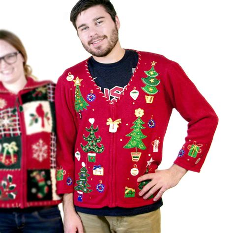 christmas trees and gifts tacky ugly sweater the ugly