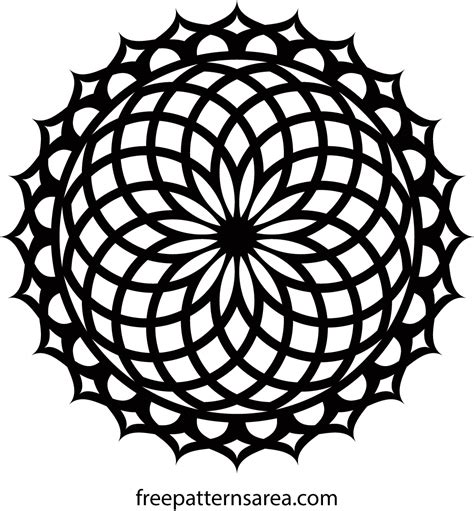 Free Geometric Lotus Mandala Ornament Vector