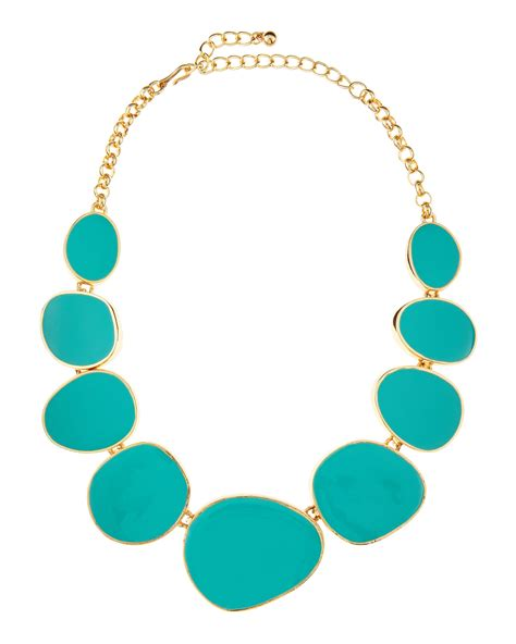 Kenneth Lanes Lipstick Necklace At Outfitters by Kenneth Turquoise Enamel Bib Necklace In Green