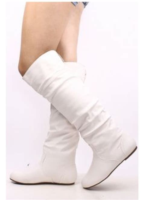 black brown white knee flat boots