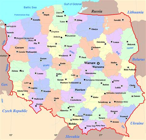 printable map of poland printable maps maps of poland detailed map of poland in english
