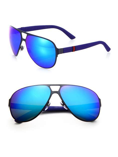 Gucci 2014 Blue gucci metal navigator sunglasses in blue for lyst