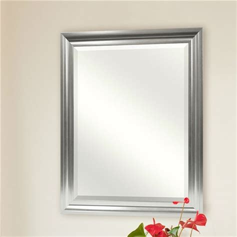 beveled bathroom vanity mirror rectangular beveled vanity mirror with satin silver finish