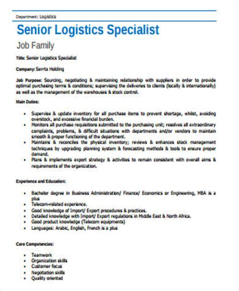logistics description logistics description description of the