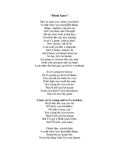 taylor swift blank space lyrics pdf download blank space lyrics c ile web e h 252 kmedin