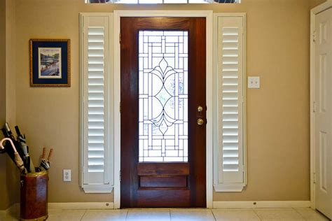 Exterior Side Door With Window Front Door Side Window Blinds Window Treatments Design Ideas