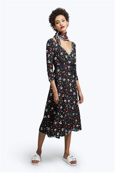 Dress Print Bunga My 002 marc floral print silk jacquard wrap dress in black multicolor modesens