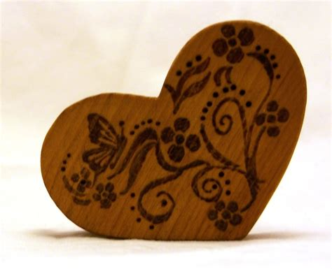 heart pattern wood pyrography heart magnet wood burned with butterfly