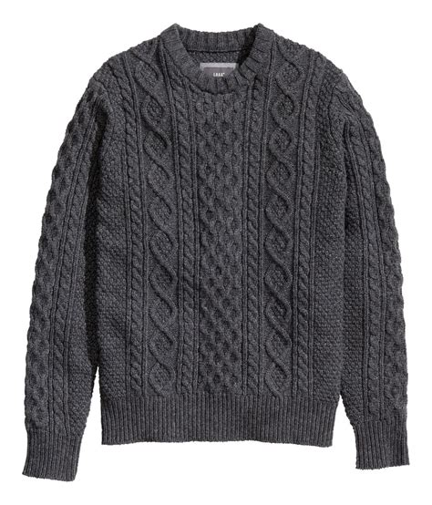 grey cable knit jumper h m cable knit jumper in gray for gray lyst