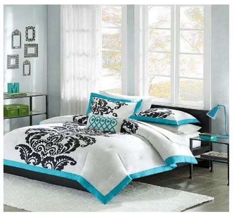 aqua blue comforter sets new teal black white 4 piece modern scroll comforter set