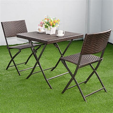 Patio Bistro Table And Chairs 3 Pc Outdoor Folding Table Chair Furniture Set Rattan Wicker Bistro Patio Brown Home Patio
