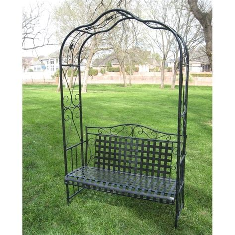 Patio Furniture Arbor by Mandalay Wrought Iron Outdoor Arbor Bench In Antique Black