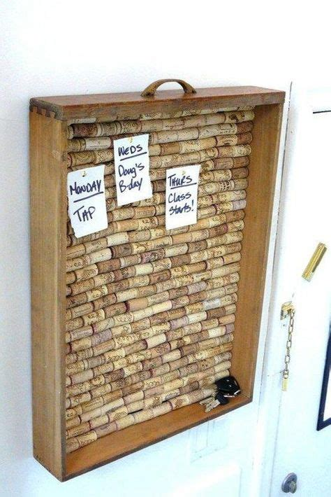 wine cork board with brown frame kitchen