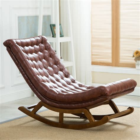 wood living room chairs modern design rocking lounge chair leather and wood for