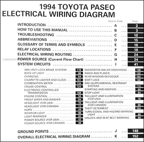 1994 toyota camry wiring diagram 1994 toyota paseo wiring diagram manual original