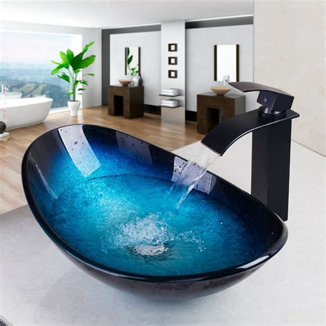 bathroom sink basin waterfall spout basin black tap bathroom sink washbasin