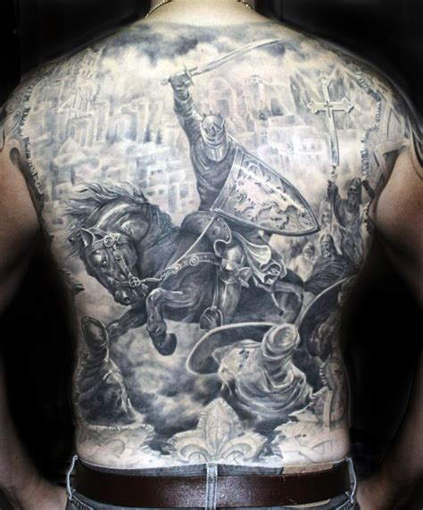 medieval knight tattoo designs black and gray