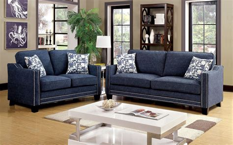 Chenille Living Room Furniture Kerian Blue Chenille Living Room Set Cm6157bl Sf Furniture Of America