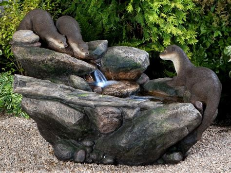 curious otters   brook water feature  led lights