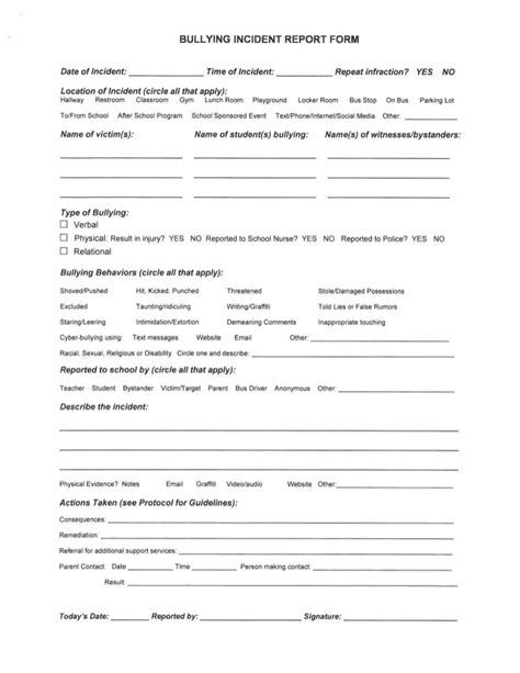 Bullying Report Form Template school mistakenly sent mock bullying report form to parents