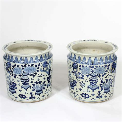 Blue And White Planters Large by Pair Of Large Export Style Blue And White