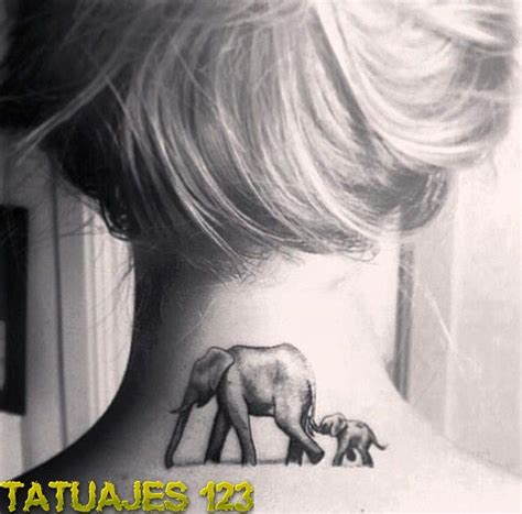 elephant tattoo back of neck familia de elefantes tatuajes 123