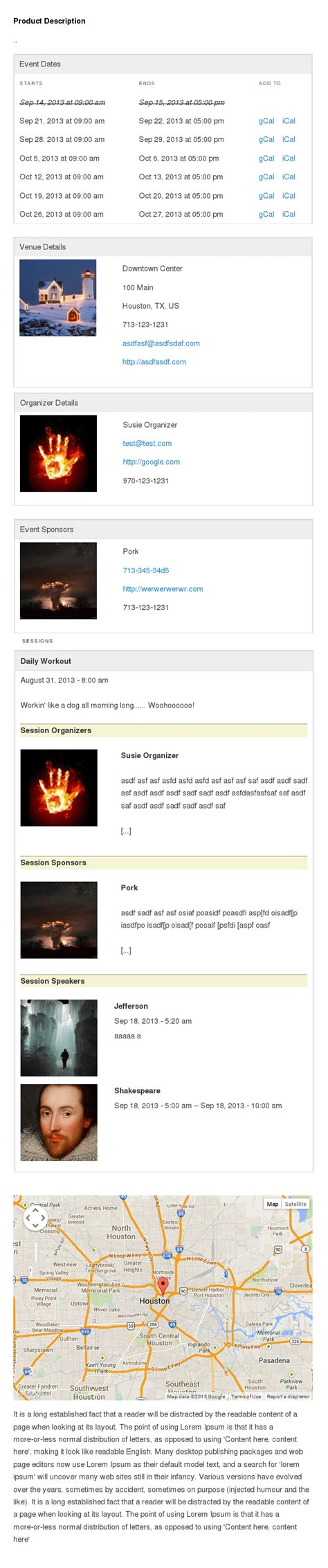 Woocommerce Page Templates by Wooevents Pro Powered Event Calendar For