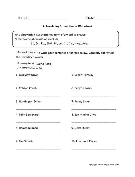 Abbreviations Worksheets | Abbreviating Street Names Worksheet