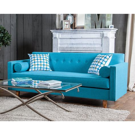 furniture of america zepeda upholstered sofa in turquoise