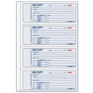 rediform 3 pt carbonless rent receipt book