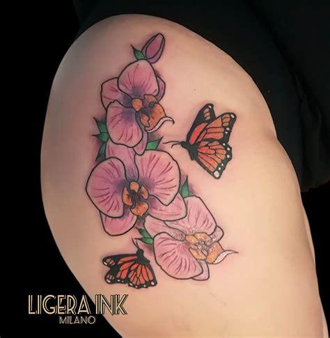 tatuaggi fiori farfalle braccio ligera ink tatuaggio fiori tatuaggio orchidea tatuaggio