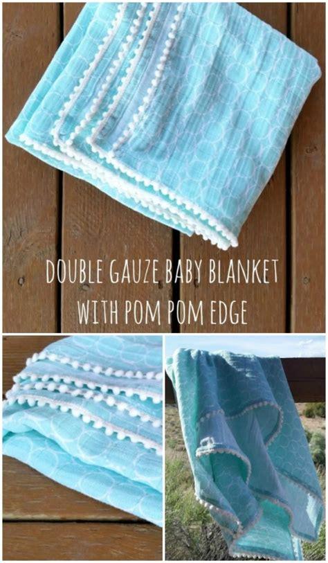 double gauze baby blanket tutorial  pom poms