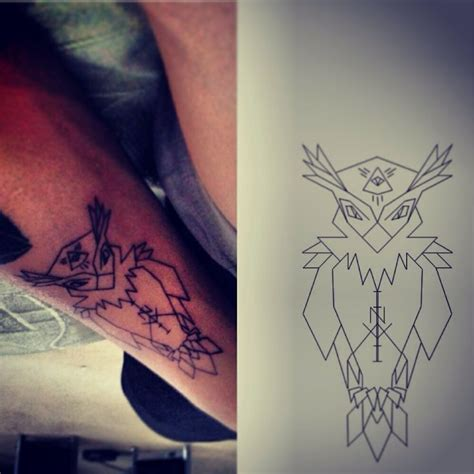 geometric owl tattoo original design owl arm geometric