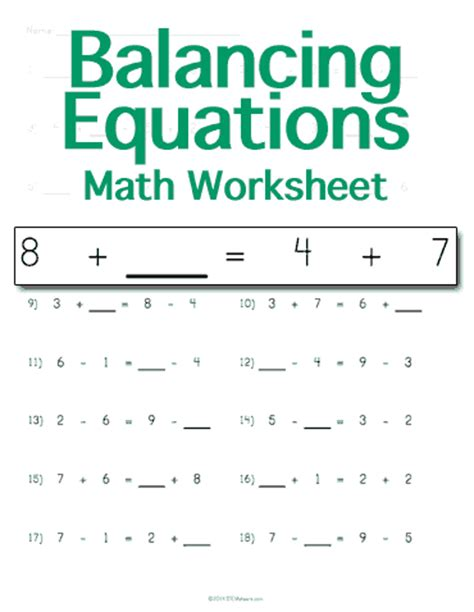 Math Equations Worksheets by Balancing Algebraic Equations Worksheet 4th Grade 1000