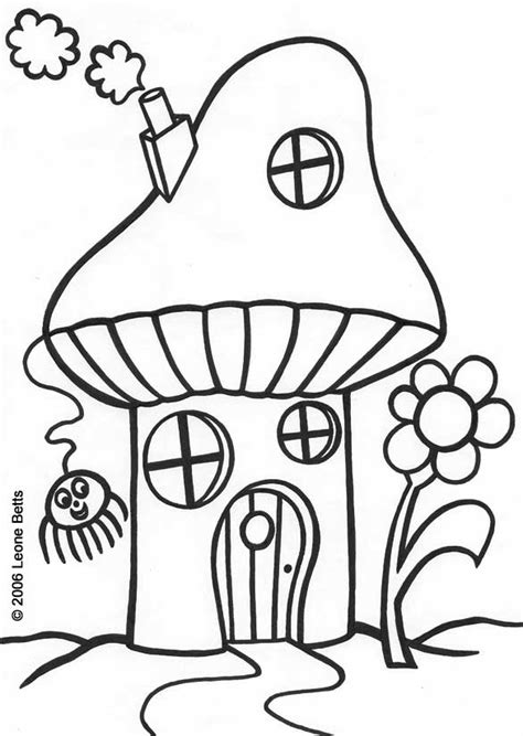Free Printable Kids Colouring Toadstool House Leone Childrens Coloring Pages