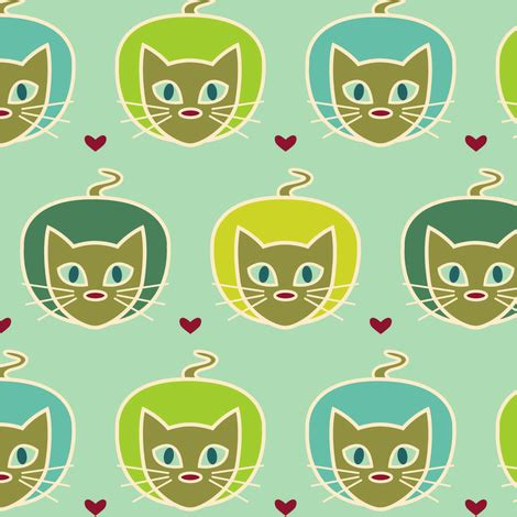 cats on the prey fabric lisse spoonflower