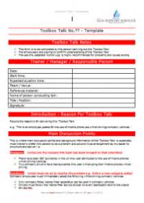 toolbox talks template 28 tool box talks template toolbox meeting template