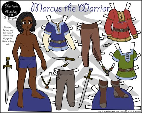 printable viking paper dolls marcus the warrior printable paper doll in color paper
