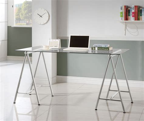 glass top writing desk nickel glass top writing desk from coaster 800804