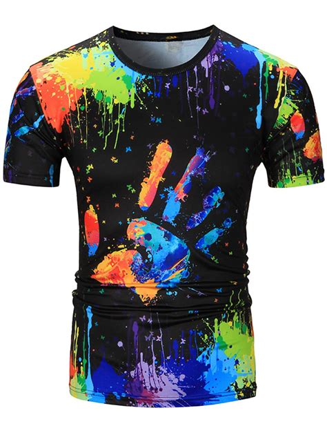 colorful shirts t shirts 2xl crew neck colorful splatter paint handprint