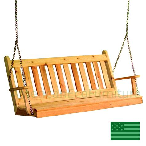 swing usa amish cedar english porch swing made in usa american